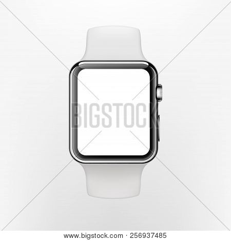 New York, Usa - August 22, 2018: Stock Vector Illustration Realistic New Apple Watch. Smart Watch Is