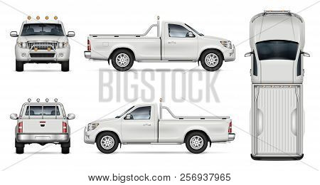 Pickup Truck Vector Mockup On White Background For Vehicle Branding, Corporate Identity. View From S