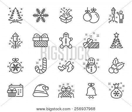 Christmas Line Icons. Set Of Santa Hat, Gingerbread Man And Gift Box Linear Icons. Fireworks, Snowfl