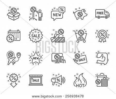 Discount Line Icons. Set Of Shopping, Sale And New Linear Icons. Free Delivery, Flight Sale And Blac