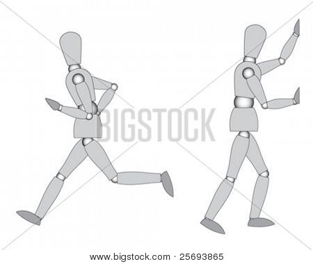 Wooden mannequins ( ready to move ), run and push, isolated on white