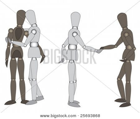 Wooden mannequins ( ready to move ), embracing and greeting, isolated on white