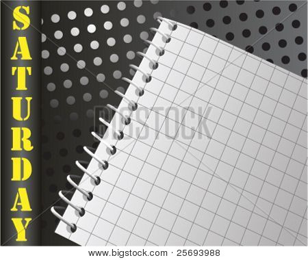 Vector organizer note book for saturday