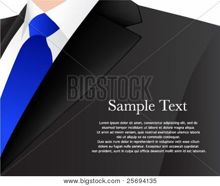 Vector illustration of a man in sport jacket with sample text.