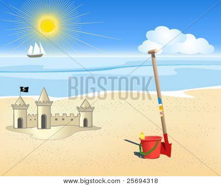 Vector beach and sea