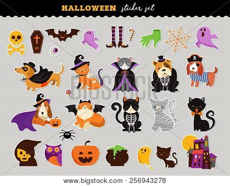 Happy Halloween - Stickers Set Of Cats And Dogs In Monsters Costumes, Halloween Party. Vector Illust