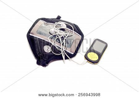 The New, Small Mp3/mp4 Player With Fm Radio On White Background Close-up