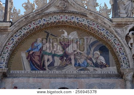 VENICE, ITALY - MAY 28 : Descent into Limbo, mosaic from upper facade of the Basilica San Marco, St. Mark's Square, Venice, Italy, UNESCO World Heritage Site on May 28, 2017.