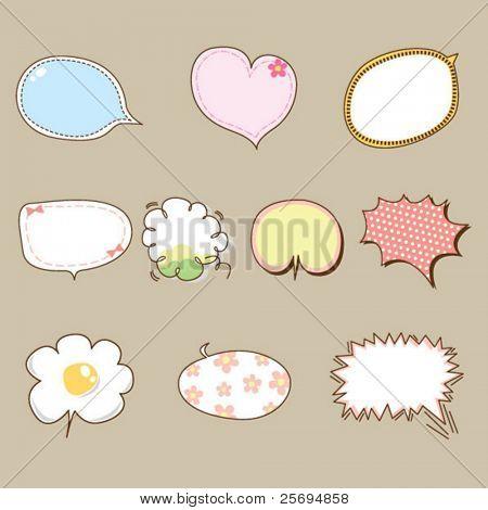 Cute speech bubbles vector 02