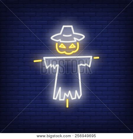 Halloween Bogey Neon Icon. Scary Character With Pumpkin Head. All Hallows Eve Concept. Vector Illust