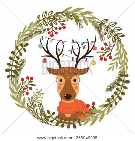 Christmas Wreath With Deer. Cute Cartoon Deer With Christmas Toys, Garlands On The Horns And Scarf.