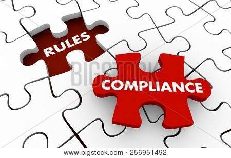 Rules Compliance Following Regulations Compliant Puzzle 3d Illustration poster