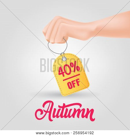 Hand Holding Tag With Autumn, Forty Percent Off Lettering. Autumn Offer Or Sale Advertising Design.