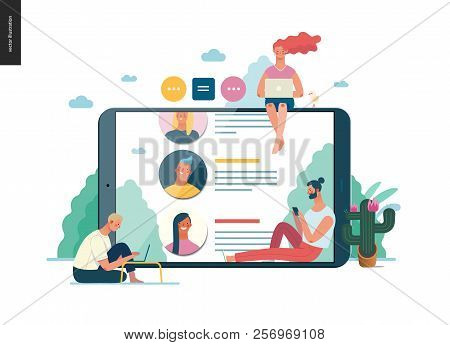 Business Series - Reviews -modern Flat Vector Illustration Concept Of People Writing Reviews And The