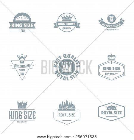 King Size Logo Set. Simple Set Of 9 King Size Logo For Web Isolated On White Background
