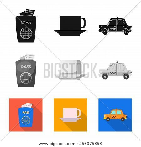 Vector Illustration Of Airport And Airplane Icon. Collection Of Airport And Plane Vector Icon For St