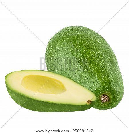 Avocado Fresh Fruit Isolated On White Background