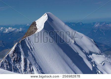Aerial View Of Winter Landscape Mountain Alpine.