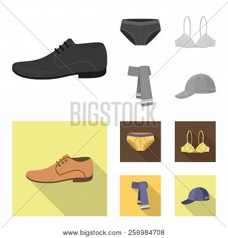 Male Shoes, Bra, Panties, Scarf, Leather. Clothing Set Collection Icons In Monochrome, Flat Style Ve
