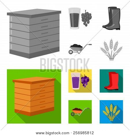 Hive, Grapes, Boots, Wheelbarrow.farm Set Collection Icons In Monochrome, Flat Style Vector Symbol S
