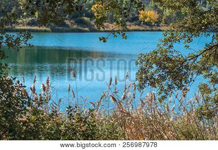 Fall Landscape On The Lake. Natural Park Lagunas De Ruidera. Castilla La Mancha. Spain.