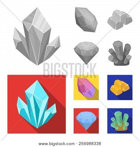 Crystals, Minerals, Gold Bars. Precious Minerals And Jeweler Set Collection Icons In Monochrome, Fla