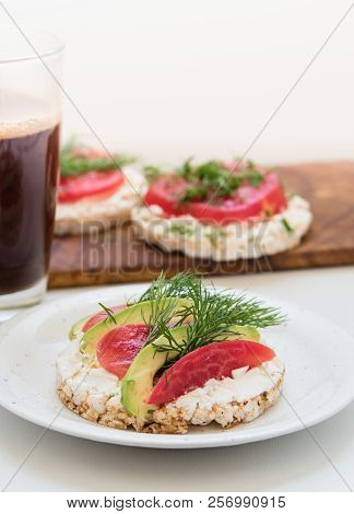 Crisp Breads With Cheese, Tomatoes, Avocado And Coffee