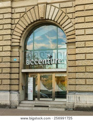 Zurich, Switzerland - October 1, 2017: Entrance To An Office Building Bearing The Sign Of The Accent