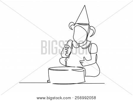One Continuous Drawn Line Birthday One Year Child Drawn By Hand Picture Silhouette. Line Art. Charac