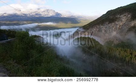 Fog In The Mountains In Norway In The Morning