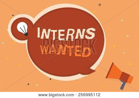 Conceptual Hand Writing Showing Interns Wanted. Business Photo Showcasing Looking For On The Job Tra