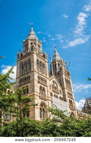 High Towers Of The Impressive Building Of The Natural History Museum In London, England