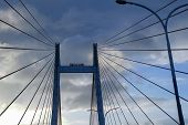 Cables of Vidyasagar Setu (Bridge) over river Ganges, with blue sky - known as 2nd Hooghly Bridge in Kolkata,West Bengal,India. Connects Howrah and Kolkata, Longest Cable - stayed bridge in India. poster