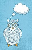 Hand drawn owl with thought bubble on textured background poster