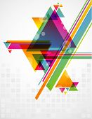 Abstract geometric shapes with transparencies. AI 10. poster