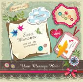 Vintage memo scrapbook elements 02 poster