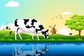 illustration of cow grazing in field with tree and windmill in background poster