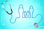illustration of family icon with stethoscope on abstract medical background poster