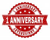 1 ANNIVERSARY seal print with corroded texture. Rubber seal imitation has circle medallion form and contains ribbon. Red vector rubber print of 1 ANNIVERSARY caption with scratched texture. poster