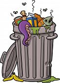 Vector illustration of a cartoon trash can. poster