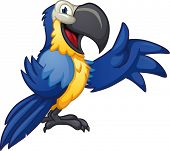Cute cartoon blue macaw. Vector illustration with simple gradients. poster