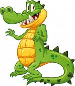 Shy crocodile waving. Vector illustration with simple gradients. All in a single layer. poster