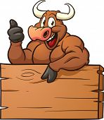 Happy cartoon bull with a wooden sign. Vector illustration with simple gradients. All in a single layer. poster