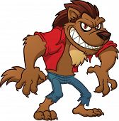 Cartoon werewolf. Vector illustration with simple gradients. All in a single layer.