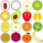 A vector collection of Fresh, Cute Vegetable, tropical fruit cut in half isolated on white poster