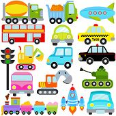 A colorful set of cute Vector Icons : Car / Vehicles / Transportation poster