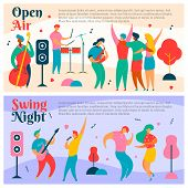 2 sets of colorful modern flat characters for jazz, rock, blues music fest-singer, musicians, guitar, sax, drums, double bass, loudspeakers.Happy people dancing, rejoice, making selfie on musical festival party poster