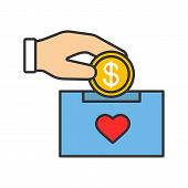 Donation box color icon. Moneybox. Fundraising. Donate money to charity. Hand dropping dollar coin into donation box. Isolated vector illustration poster