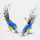 Two small titmouses pecking grain. Calligraphy and watercolor on the textured paper. poster