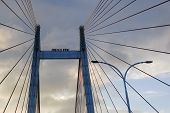 Cables of Vidyasagar Setu (Bridge) over river Ganges, with dramatic sky - known as 2nd Hooghly Bridge in West Bengal, India. Connects Howrah and Kolkata, Longest Cable - stayed bridge in India. poster